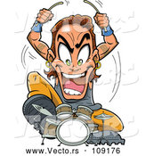 Vector of Young Energetic Metal Band Drummer Musician Guy Aggressively Playing by Clip Art Mascots