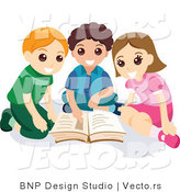 Vector of Young Girl and Two Boys Reading School Book Together by BNP Design Studio