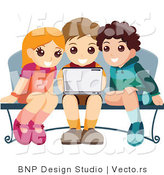 Vector of Young Girl and Two Boys Using a Laptop Computer at a Bench by BNP Design Studio