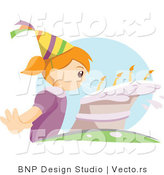 Vector of Young Girl Blowing Candles on Her Birthday Cake by BNP Design Studio