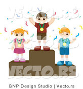 Vector of Young Happy Girl and Two Boys Wearing Medals While Standing on Pedestals by BNP Design Studio