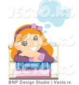 Vector of Young Happy Girl Day Dreaming over School Books by BNP Design Studio