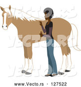 Vector of Young Indian Lady Grooming Her Pet Horse with a Brush by Rosie Piter