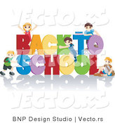 Vector of Young Kids Playing on Back to School Sign by BNP Design Studio