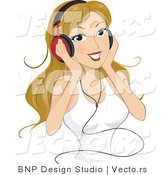 Vector of Young Lady Listening to Music Through Headphones by BNP Design Studio