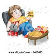 Vector of Young Man Binge Eater Looking at Talking Hamburger by Graphics RF