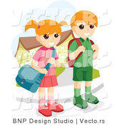 Vector of Young School Boy and Girl Waiting at a Bus Stop by BNP Design Studio