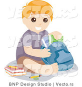 Vector of Young School Boy Sitting with Books and Backpack by BNP Design Studio