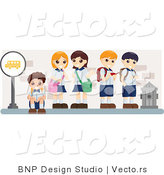Vector of Young School Kids Waiting at a Bus Stop by BNP Design Studio