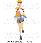 Vector of Young White Female Food Worker Wearing Roller Skates with Food at a Drive in by BNP Design Studio