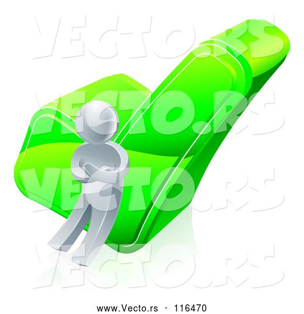 3d Vector of 3d Silver Guy Leaning Against a Green Check Mark