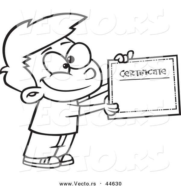 Cartoon Clip Art of a Proud School Boy with a Certificate - Black Outline