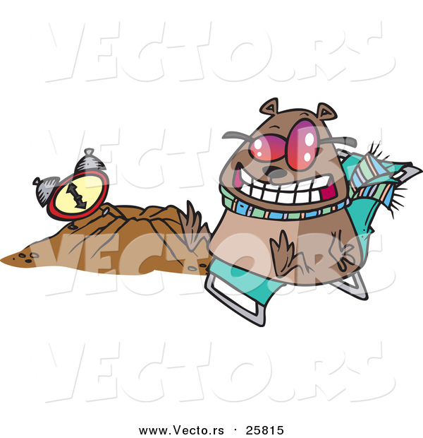 Cartoon of a Groundhog Wearing Shades and Sitting by His Hole