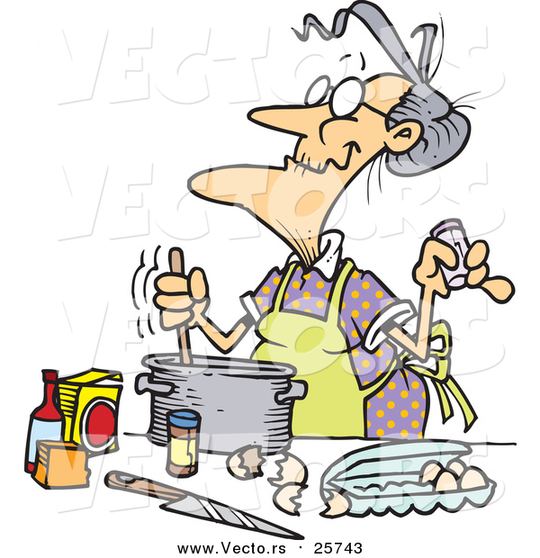 Cartoon of a Old Woman Baking