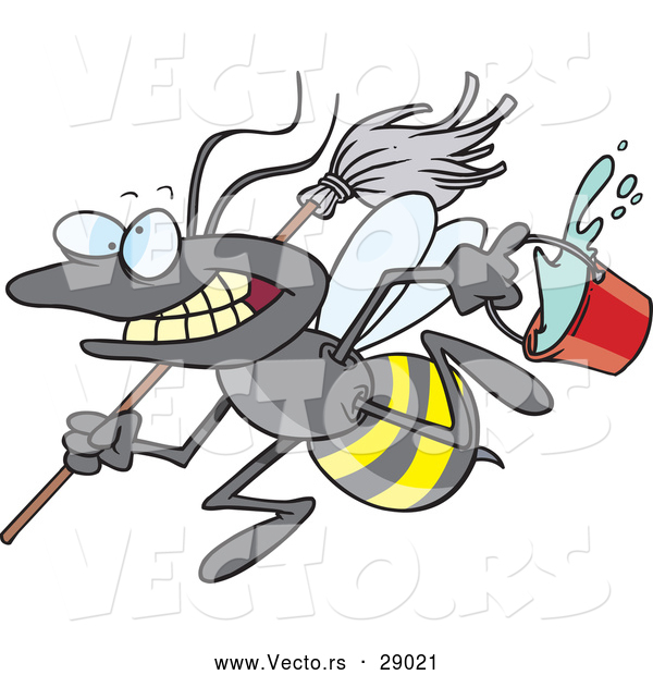 Cartoon of a Vector Busy Janitorial Bee with a Mop and Bucket