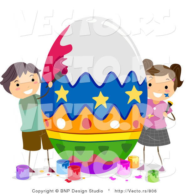 Cartoon Vector of 2 Children Painting a Huge Easter Egg