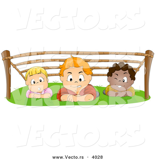 Cartoon Vector of 3 Children Crawling Under Ropes - Boot Camp Training for Kids