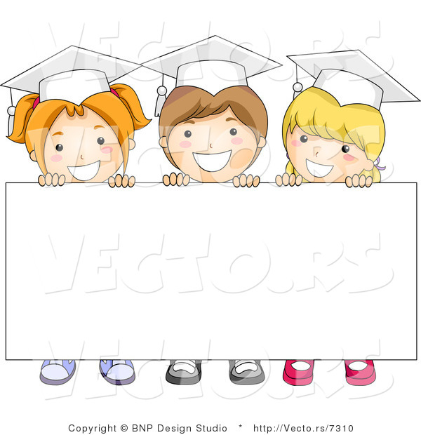 Cartoon Vector of 3 Graduating Kids Standing Behind Blank Sign with Big Smiles