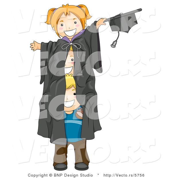Cartoon Vector of 3 Playful Kids Within Giant Graduation Gown