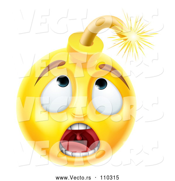 Cartoon Vector of 3d Scared Yellow Male Smiley Emoji Emoticon Face Bomb