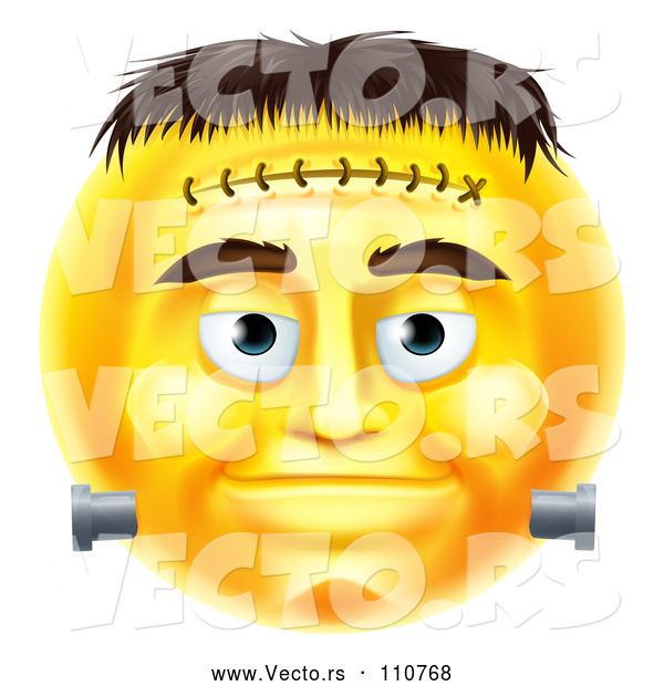 : Cartoon Vector of 3d Yellow Frankenstein Smiley Emoji Emoticon Face