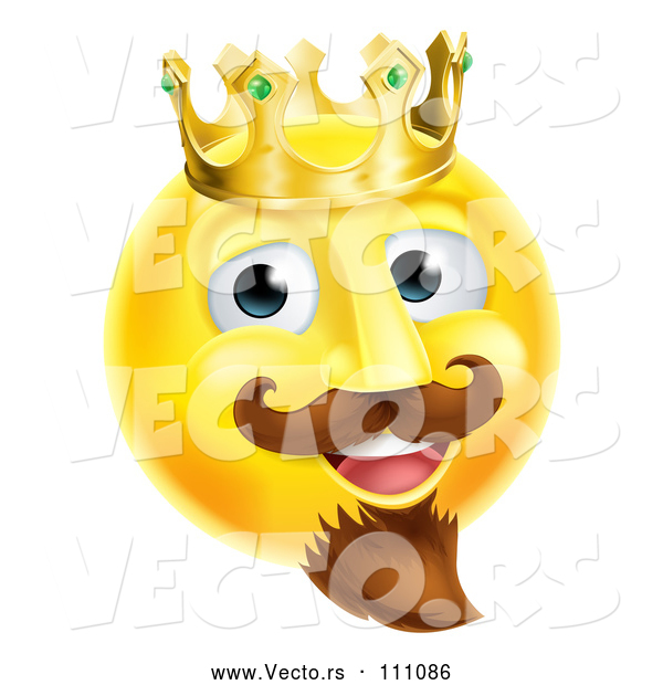 Cartoon Vector of 3d Yellow Smiley Emoji Emoticon Face King Wearing a Crown