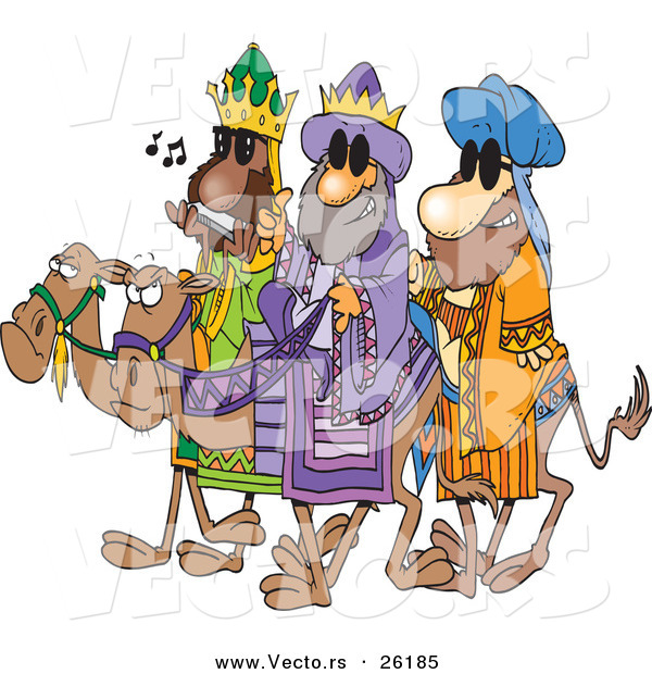 Cartoon Vector of a 3 Wise Men Wearing Shades and Riding Camels