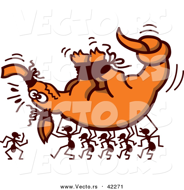 Cartoon Vector of a Ants Carrying Hostage Aardvark Bound by String