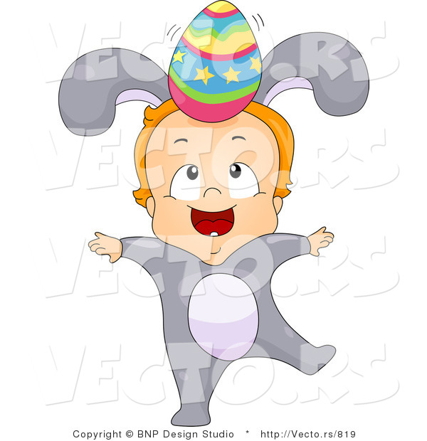 Cartoon Vector of a Baby Boy Wearing Bunny Costume While Balancing an Easter Egg on His Head