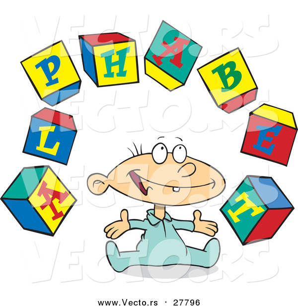 Cartoon Vector of a Baby with Alphabet Letter Blocks