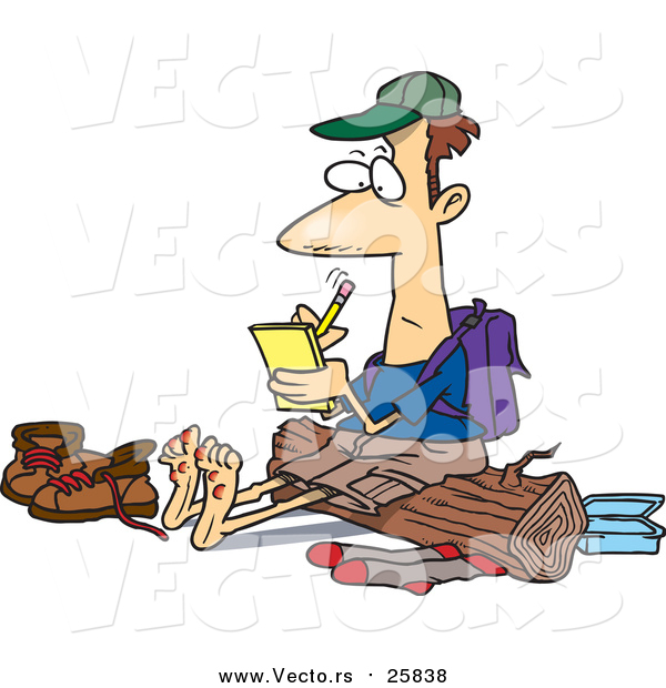 Cartoon Vector of a Barefoot Hiker with Blisters on His Feet, Writing in His Journal