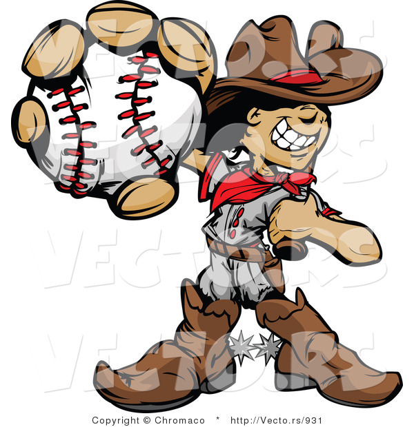 Cartoon Vector of a Baseball Cowboy Kid Mascot with Ball and Bat