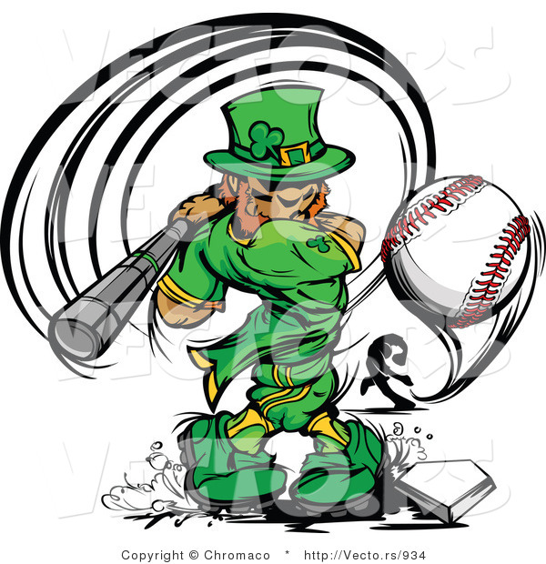 Cartoon Vector of a Baseball Leprechaun Mascot Batting