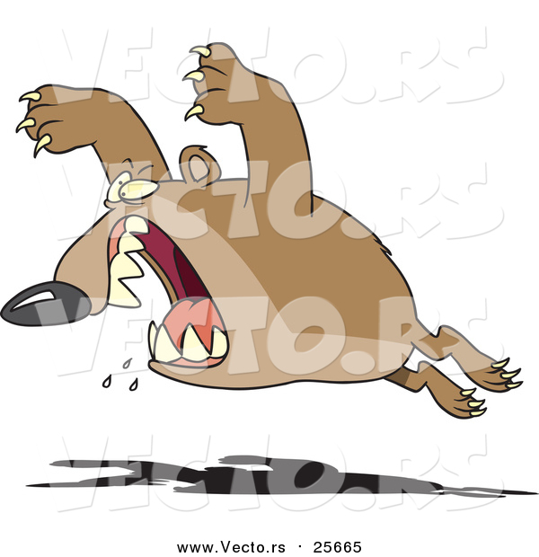 Cartoon Vector of a Bear Leaping