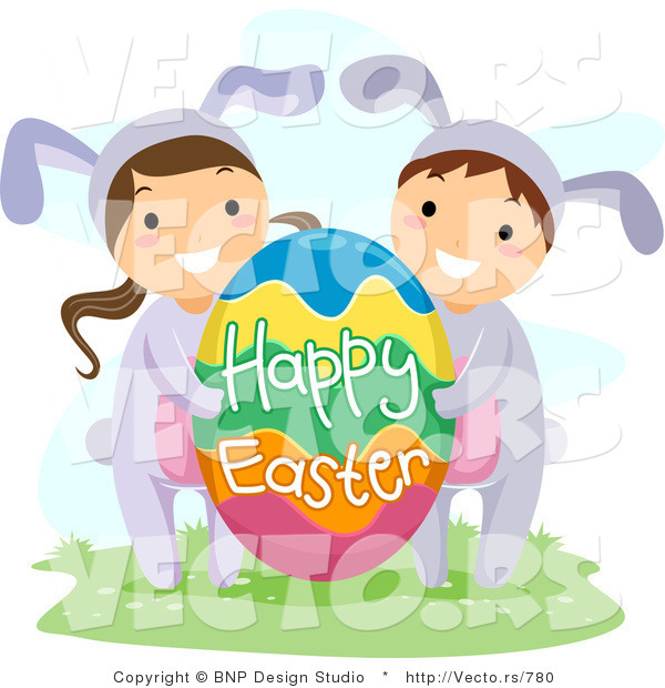 Cartoon Vector of a Boy and Girl with Big Happy Easter Egg