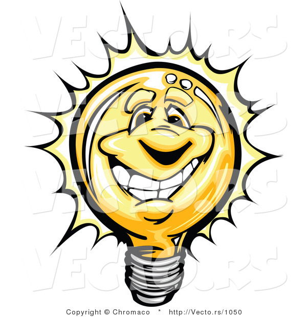 Cartoon Vector of a Bright Cartoon Lightbulb Mascot Smiling
