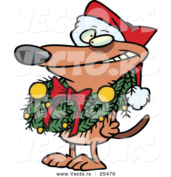 Cartoon Vector of a Brown Dog Wearing Santa Hat and Grinning with Christmas Wreath Around His Neck