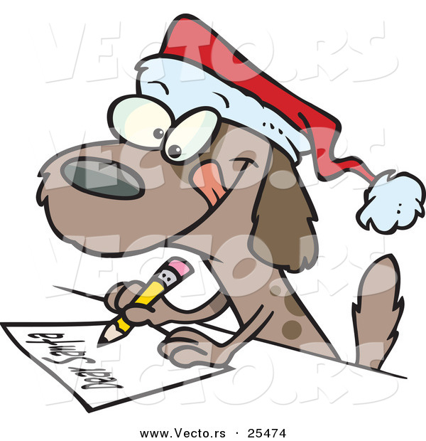 Cartoon Vector of a Brown Dog Writing Letter to Santa