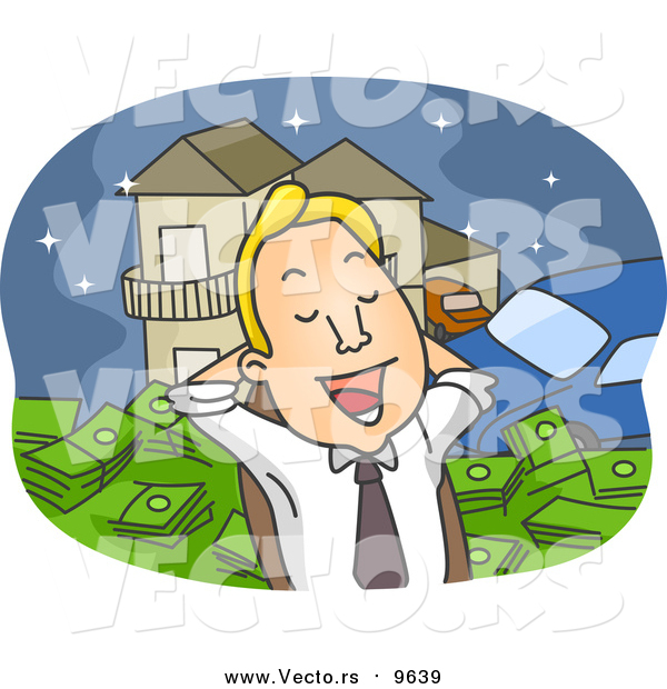 Cartoon Vector of a Business Man Day Dreaming of Being Rich
