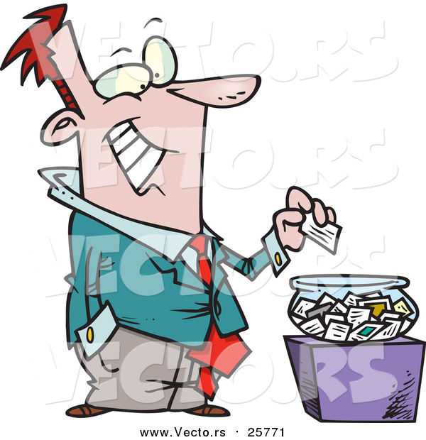 Cartoon Vector of a Business Man Putting His Card into a Bowl for a Drawing