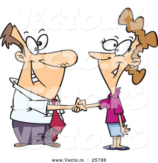 Cartoon Vector of a Business Man Shaking Hands with a Business Woman