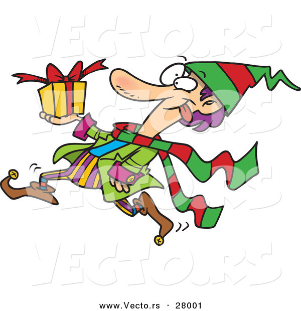 Cartoon Vector of a Busy Christmas Elf Running with a Present