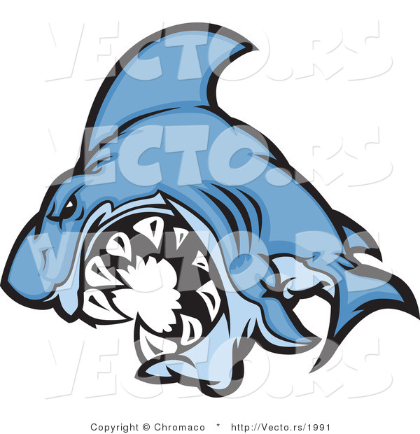 Cartoon Vector of a Cartoon Blue Shark Mascot Attacking