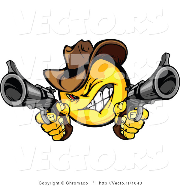 Cartoon Vector of a Cartoon Smiley Cowboy Shooting Pistols While Grinning