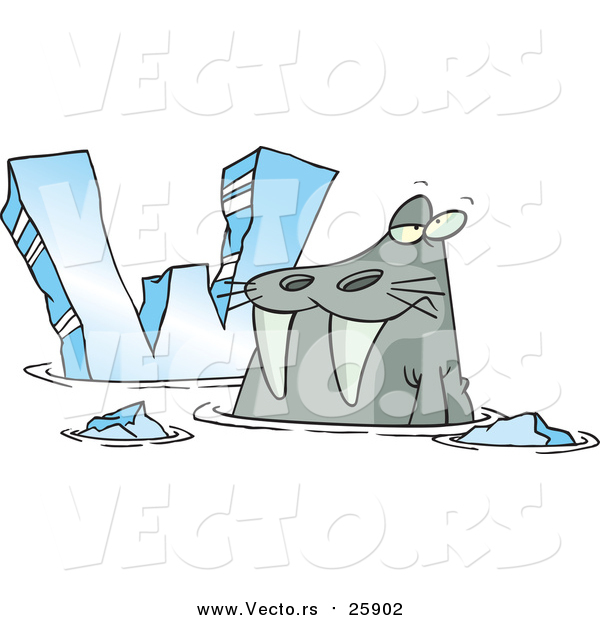 Cartoon Vector of a Cartoon Walrus Beside Alphabet Letter W