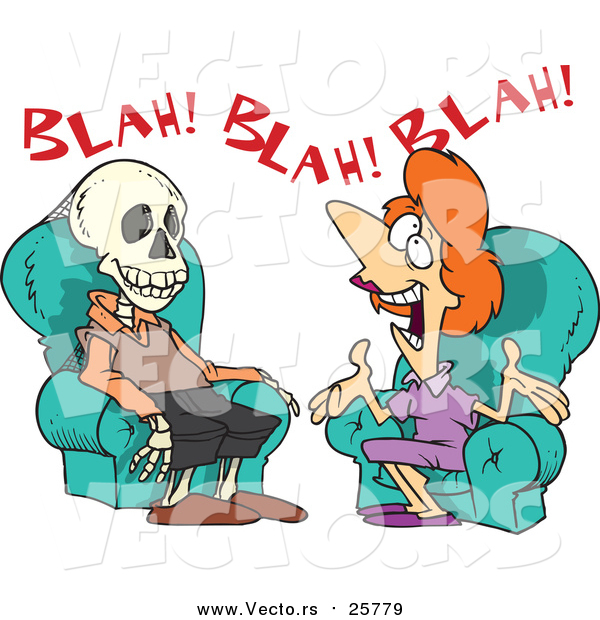 Cartoon Vector of a Chatty Woman Talking a Man to Death
