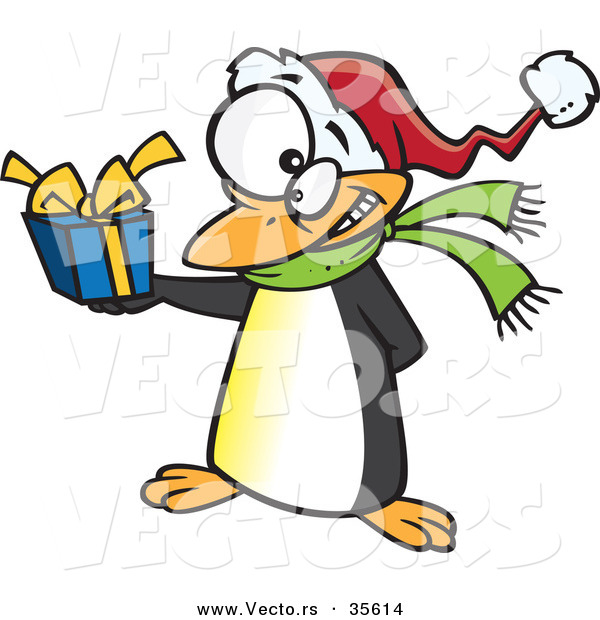 Cartoon Vector of a Christmas Penguin Holding Present