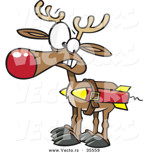Cartoon Vector of a Christmas Reindeer Strapped to a Couple Rockets