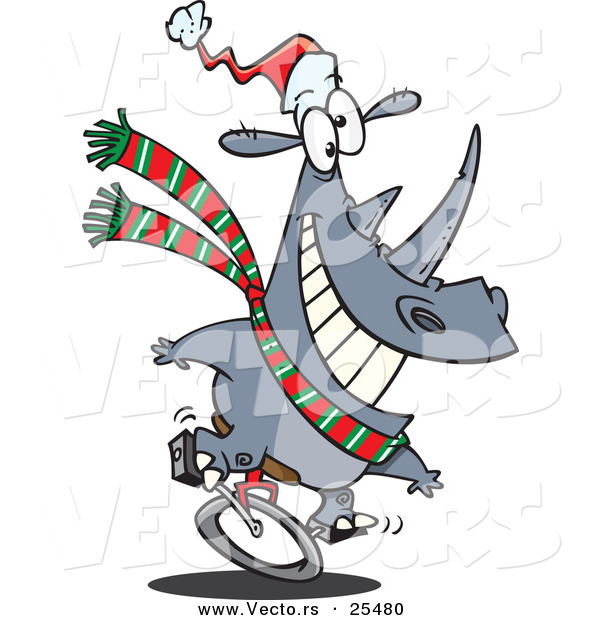 Cartoon Vector of a Christmas Rhino Riding a Unicycle and Wearing a Santa Hat