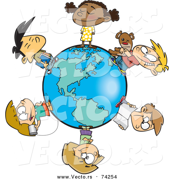 Cartoon Vector of a Circle of Kids on a Small World
